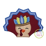 Turkey with Headdress Boy Applique
