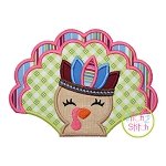 Turkey with Headdress Girl Applique