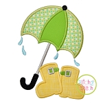Umbrella with Boots Applique