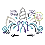 Unicorn Horn Awareness Ribbon 2 Color Embroidery
