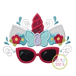 Unicorn Horn Sunglasses Butterfly Applique