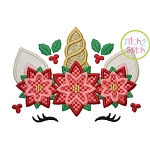 Unicorn Horn Poinsettias Applique