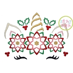 Unicorn Horn Poinsettias Embroidery