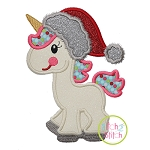 Unicorn in Santa Hat Applique