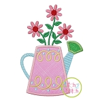 Watering Can with Flowers Applique