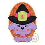 Witch Dog Oval Applique