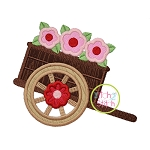 Wood Cart with Flowers Applique