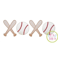 XOXO Baseball Sketch Embroidery