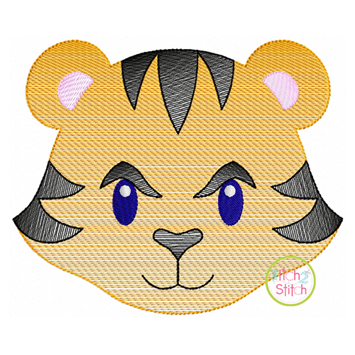 Tiger Face Boy Sketch Embroidery | The Itch 2 Stitch