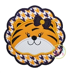 Tiger Face Scallop Girl Applique