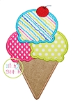 Triple Ice Cream Cone Applique