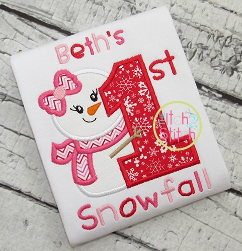 First Snowfall Girl Applique