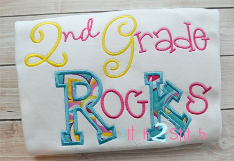 2nd Grade Rocks Applique