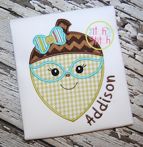 Acorn Glasses Girl Applique