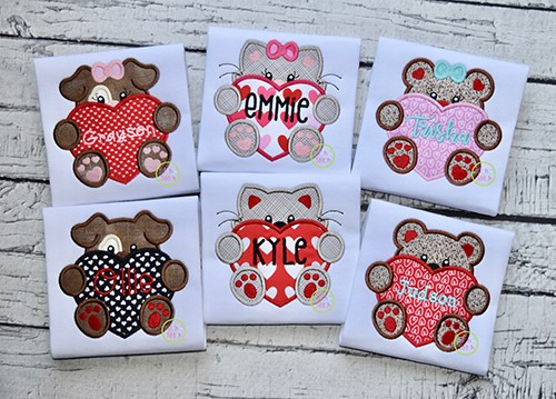 Critters With Heart Applique Set