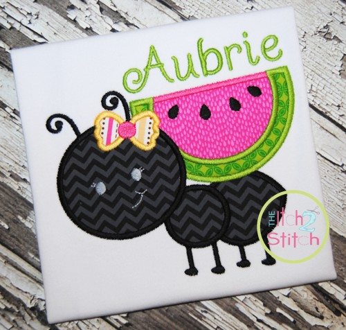 Ant Watermelon Girl Applique