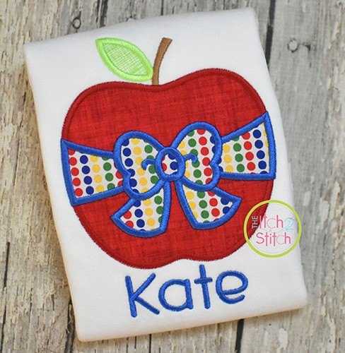Apple Big Bow Applique Design