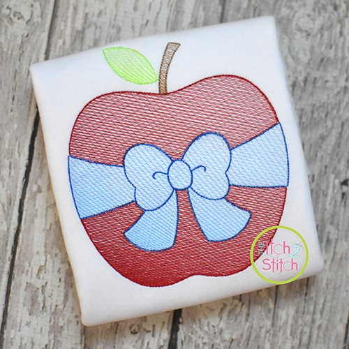 Apple Big Bow Sketch Embroidery