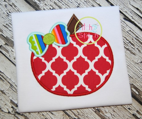 Apple Bow Applique
