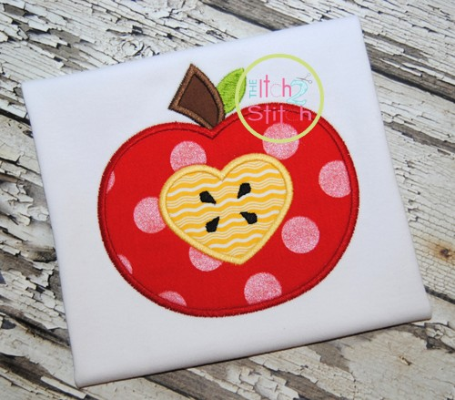 Apple Heart Applique