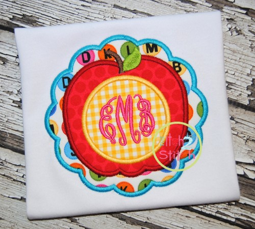 Apple Scallop Monogram Applique