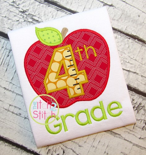 Apple School 4th Grade Number Applique