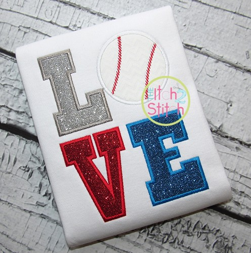 Baseball LOVE (or Softball LOVE) Applique Design