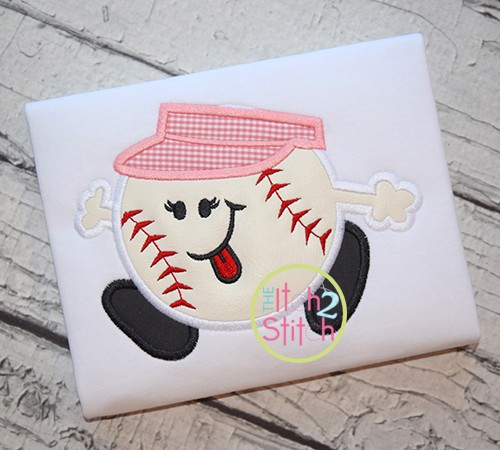 Baseball Run Girl Applique