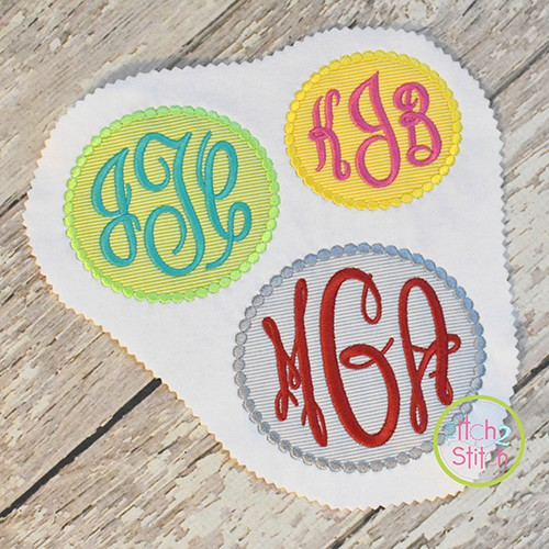 Beaded Oval Monogram Frame Applique