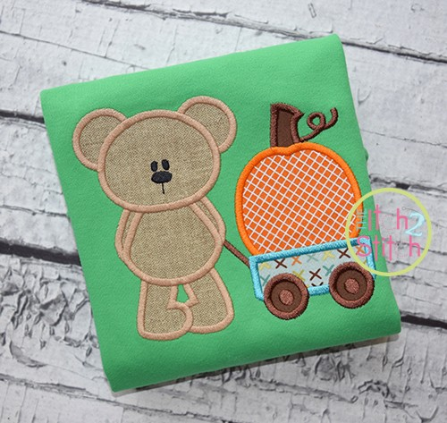Bear Wagon Pumpkin Applique