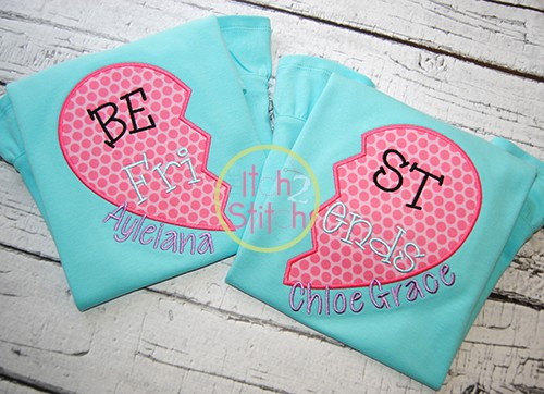 Best Friends Heart Applique
