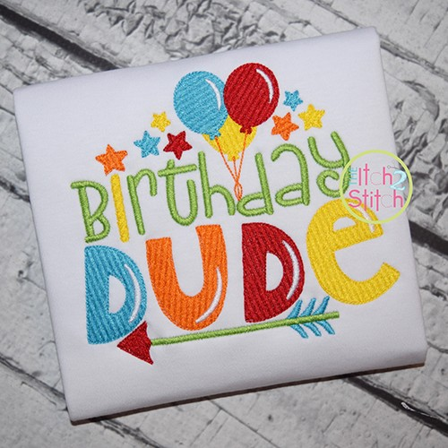 Birthday Dude Embroidery