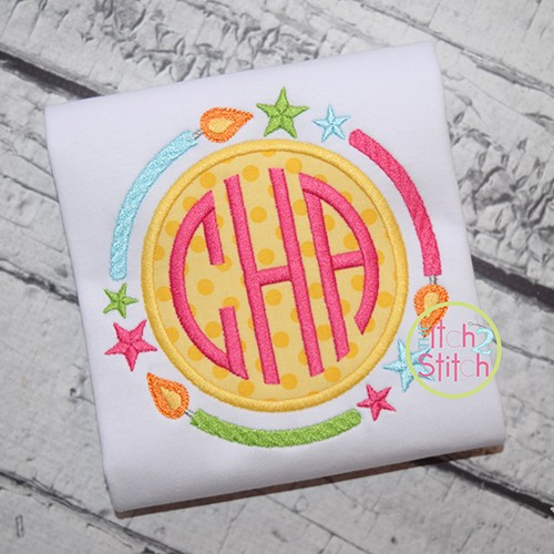 Birthday Monogram Frame Applique
