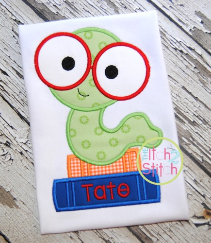Book Worm 2 Applique