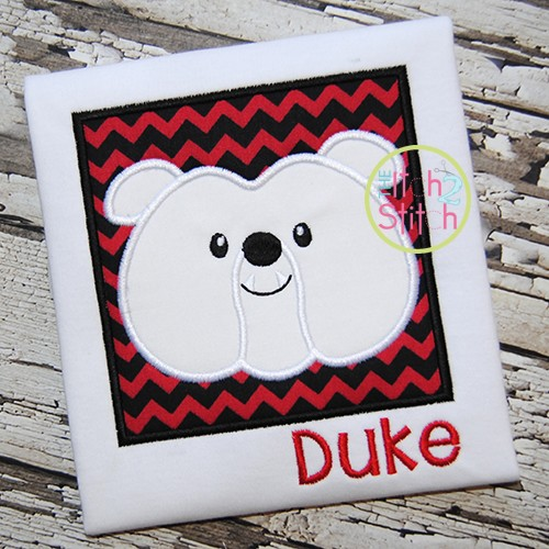 Bulldog Face Box Applique