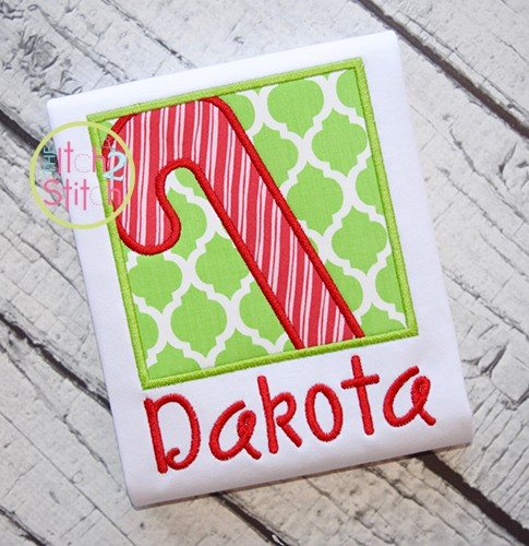 Christmas Candy Cane Box Applique