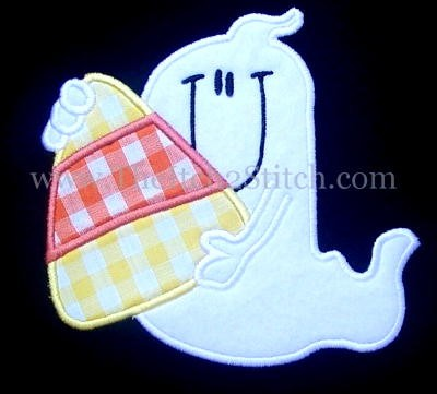 Candy Corn Ghost Applique