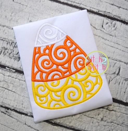 Scroll Candy Corn Embroidery