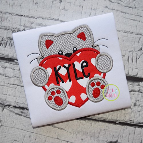 Cat With Heart Boy Applique