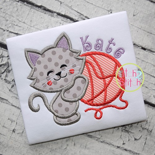 Cat Hugs Yarn Applique
