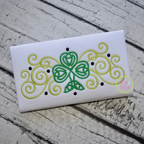 Celtic Shamrock Curls Embroidery