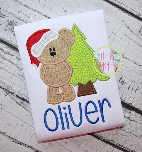 Christmas Bear Tree Applique