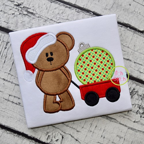 Christmas Bear Wagon Ornament Applique