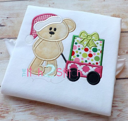 Christmas Bear Wagon Present Applique
