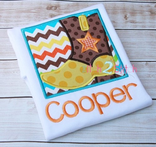 Cowboy Boot Box Applique