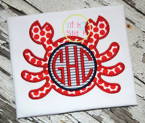 Crab Monogram Applique
