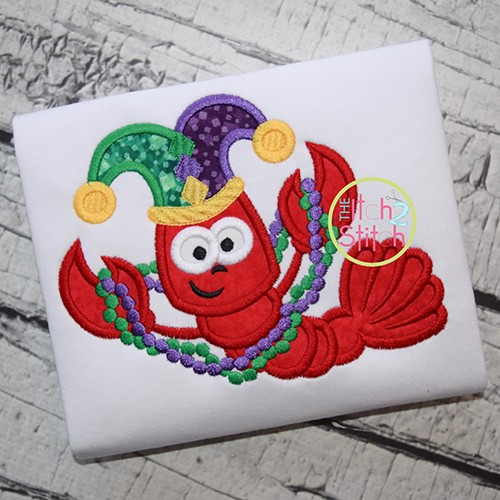 Crawfish Mardi Gras Applique