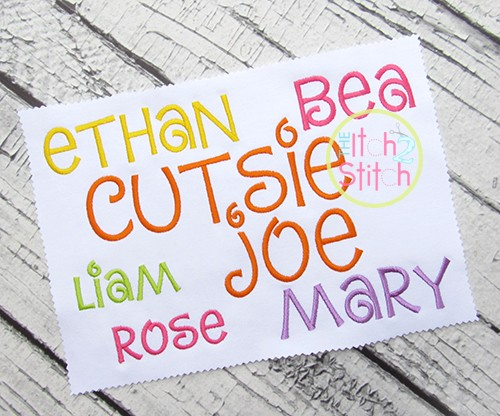 Cutsie Joe Embroidery Font