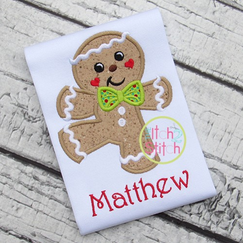 Dancing Gingerbread Boy Applique