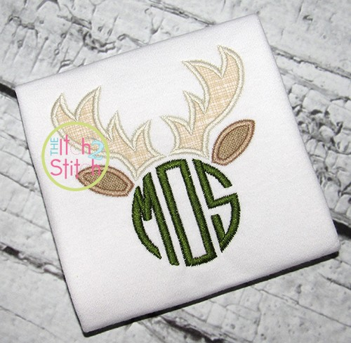 Deer Antlers Monogram Applique